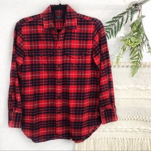 Madewell plaid red flannel button down shirt
